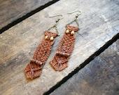 Handwoven Auburn Brown Owl Earrings