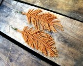 Handwoven Auburn Leaf Earrings