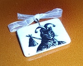 SALE!!! Victorian Cat as The Fool Tarot Card Decoupaged on a Tiny  Mah Jongg Tile Pendant