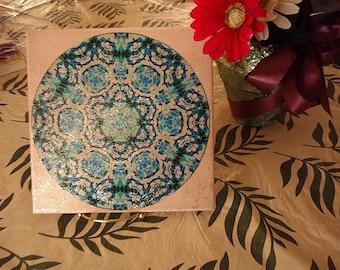 SALE!!!  Blue Kaleidoscope on 8 inch Ceramic Tile