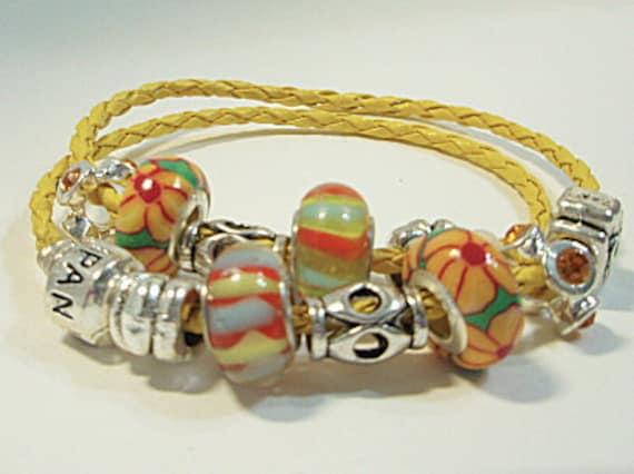 Sun Flower Leather Euro/Pandora Style Charm bracelet