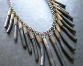 RESERVED FOR DEE - Frange Noire - Black Coral Bullet Fringe Necklace - Modern Tribal Gypsy Punk