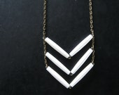 LAST ONE - Chevron Necklace - Tribal Inspired White Bone and Brass