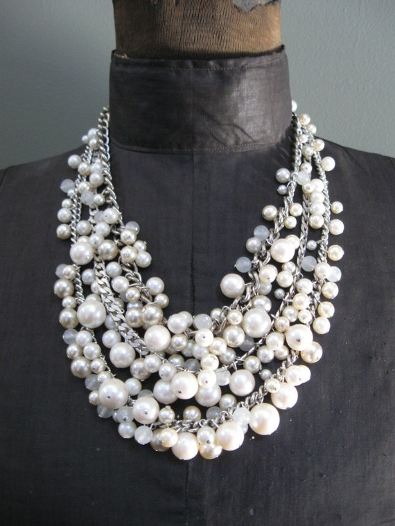 Mermaid Farts - Winter White - Free Priority Shipping - Tangled Decayed Upcycled Pearl Bib Necklace