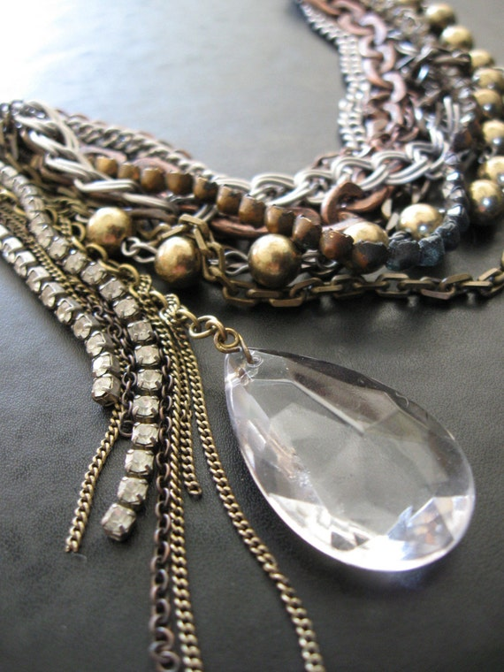 Scavenger - Tangled Chain Vintage Rhinestone and Crystal Bib Necklace