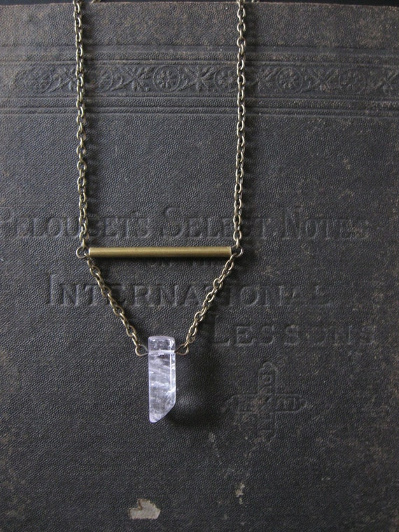 Lavender Trapeze - Pale Amethyst Point Swing Necklace
