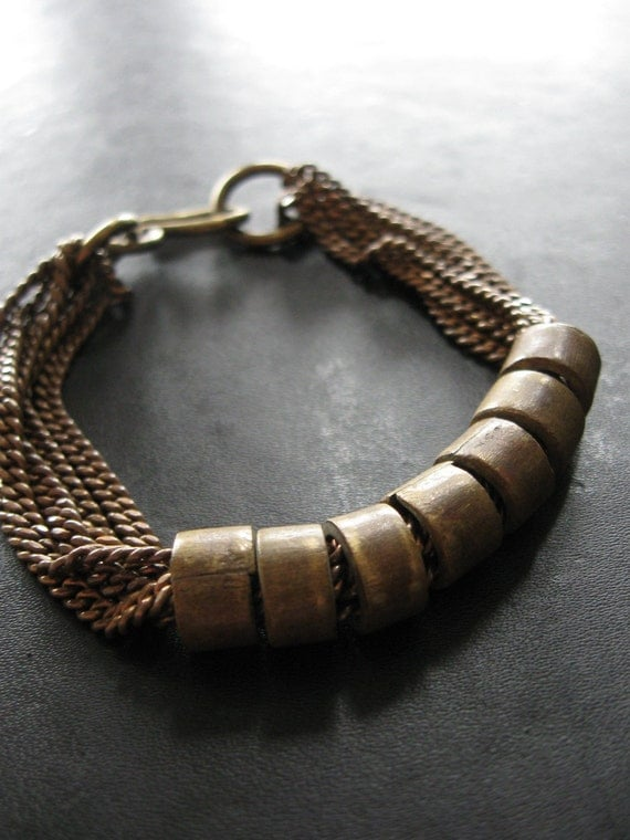 LAST ONE - Seven Signs - Brass Assemblage Bracelet - Vintage Chain and African Trade Beads