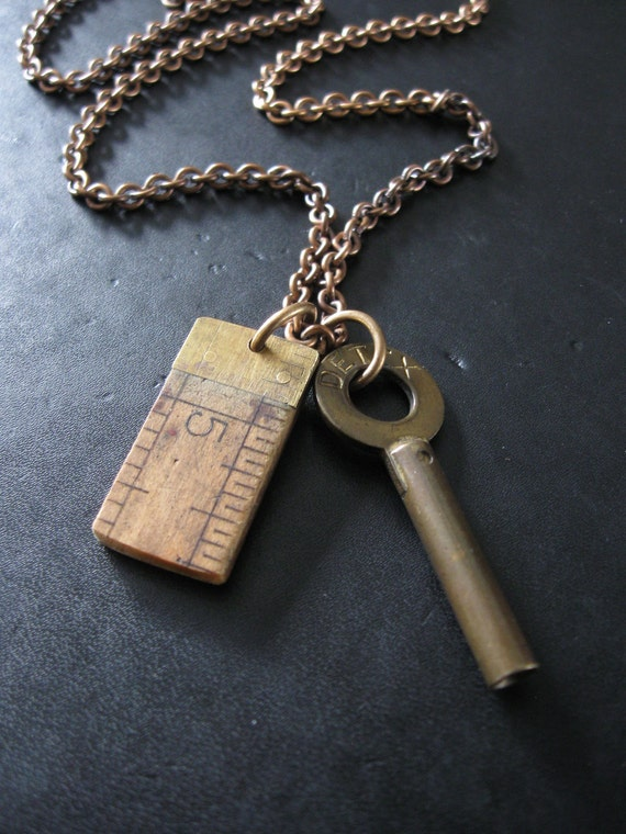 SALE - If You Give An Inch No.24 - Men's Recycled Vintage Assemblage Necklace