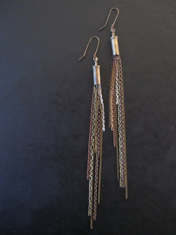 The Problem with Comets - Long Linear Dark Mixed Metal Chain Cascade Earrings