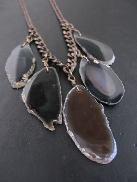 Raw Edged Agate Slab Necklace - Long Tribal Inspired Necklace for Layering