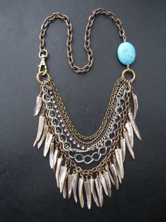 SALE - Man Eater - Mixed Metal Chain and Shell Tooth Statement Bib Necklace
