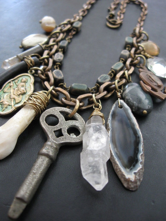 The Collector - A Collar of Curiosities - Assemblage Bib Necklace
