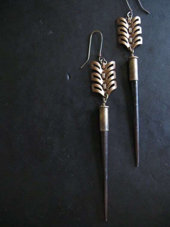Long Dangle Shoulder Duster Earrings - Urban Tribal - Brass Chevron and Porcupine Quills