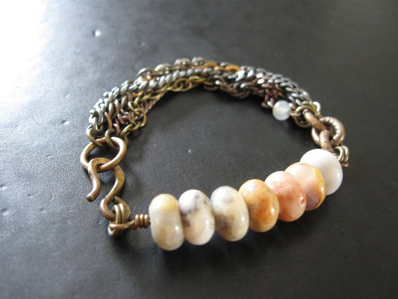 Agate and Tangled Chain Bracelet - Mixed Metal Salvaged Chain