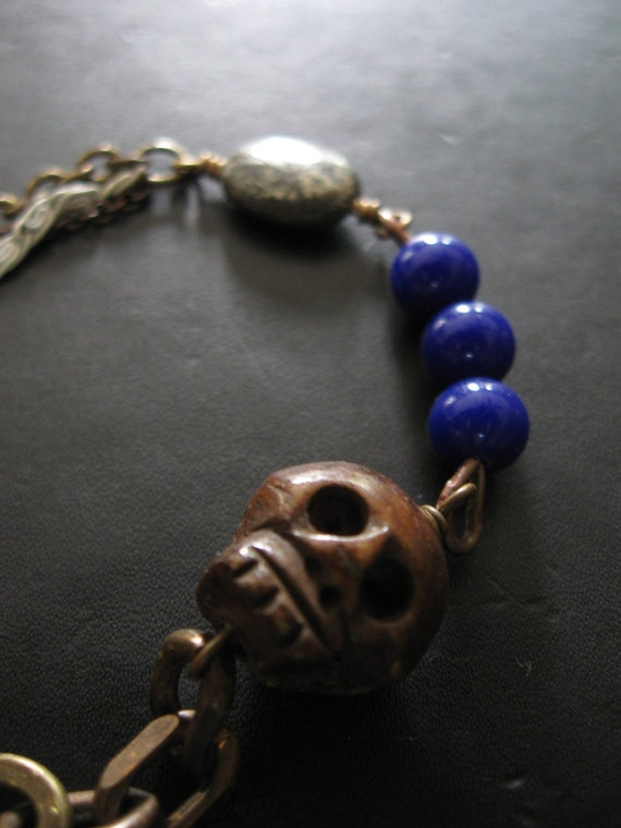 In Effigy - Bone Skull Blue Glass Pyrite and Upcycled Chain Assemblage Bracelet