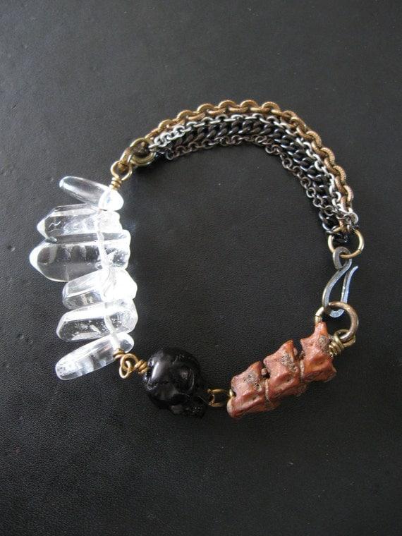 Black Carved Horn Skull Snake Vertebrae and Quartz Bracelet