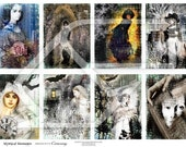 Halloween, ATC , ACEO, Woman Digital Collage Print Sheet no133