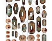 Keyholes Digital Collage Print Sheet no122