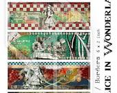 Alice in Wonderland Cuffs - Borders Digital Collage Sheet no250