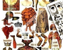 Paper Doll Mixed Media Elements in Color and Black/White Digital Collage Print Sheet no143