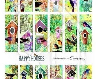 Bird Houses Digital Collage Print Sheet no128