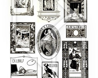 Bookplates - Ex Libris - Digital Collage Print Sheet no199
