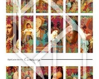 Altered Art Women 1x3 Inch Digital Collage Print Sheet no44