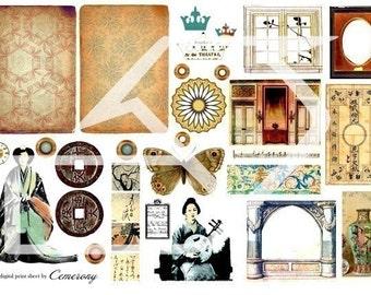 ATC , ACEO Digital Collage Print Sheet no24