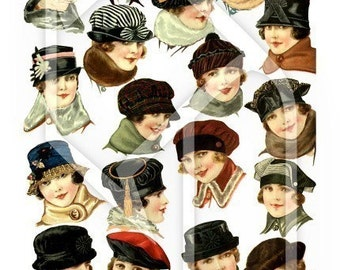 Vintage Woman with Hats Digital Collage Print Sheet no200