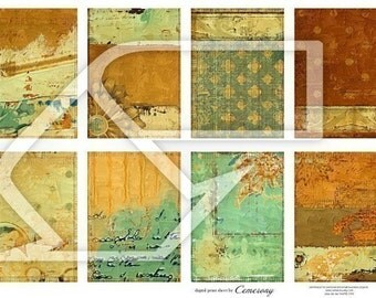 ATC - ACEO Backgrounds Digital Collage Print Sheet no107