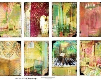 ATC - ACEO Backgrounds Digital Collage Print Sheet no183