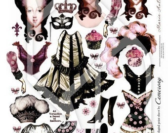 Paper Doll Marie Antoinette Digital Collage Print Sheet no147