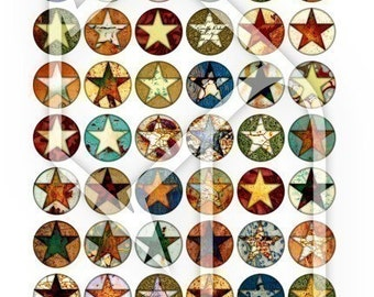 One Inch Stars Digital Collage Print Sheet no138