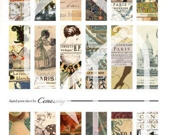 Paris 1x3 Inch Digital Collage Print Sheet no13