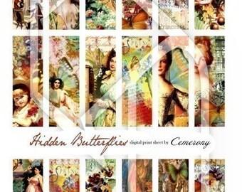 Hidden Butterflies Wings 1x3 inch Altered Art Digital Collage Print Sheet no92
