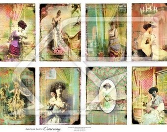 Women on Bright Backgrounds Digital Collage Print Sheet no174