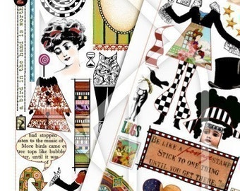 Art Journal Page Fun Digital Collage Print Sheets no157 and 158