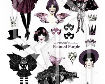 Paper Doll Purple Painting Digital Collage Print Sheet no 227