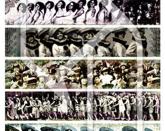 Crowds and Rows Digital Collage Print Sheet no235
