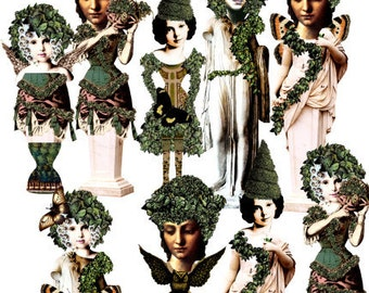 Paper Doll Garden Nymphs Digital Collage Sheet no236