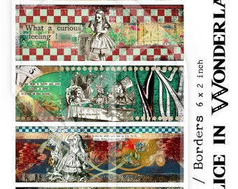 Alice in Wonderland Cuffs - Borders Digital Collage Sheet no250