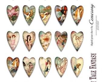 Fairy Tale Valentine Hearts Digital Collage Sheet no 254