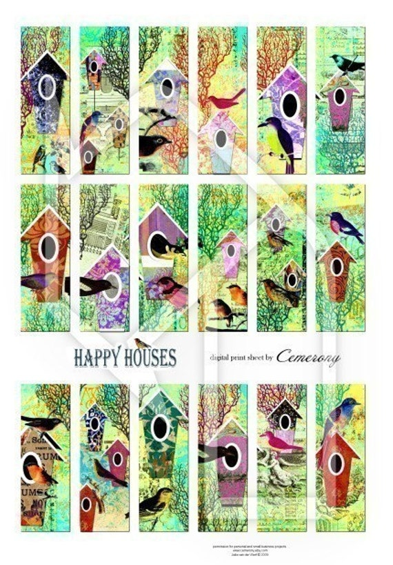 Bird Houses Digital Collage Print Sheet no128