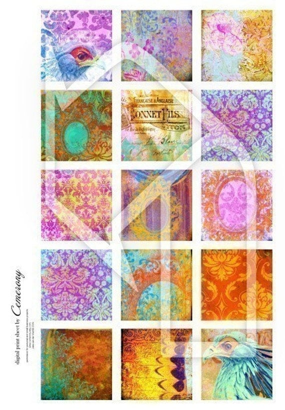 Art Papers  2x2 Inch  Digital Collage Print Sheet no118