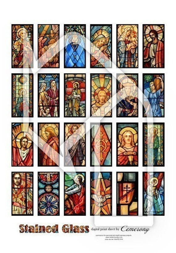Stained Glass (1x2 inch)  Religious Digital Collage Print Sheet no176