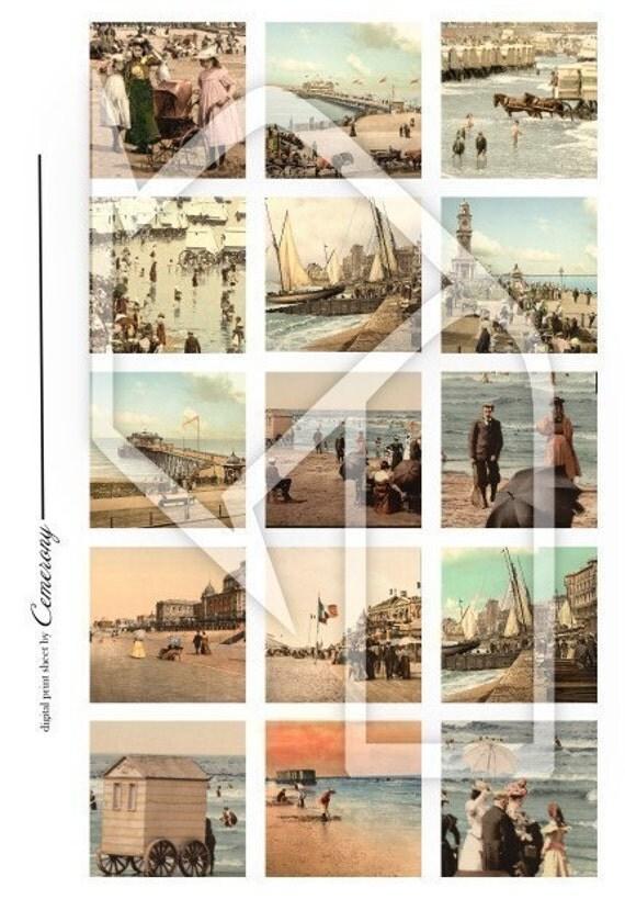 Vintage Beach 2x2 Inch Digital Collage Print Sheet no39