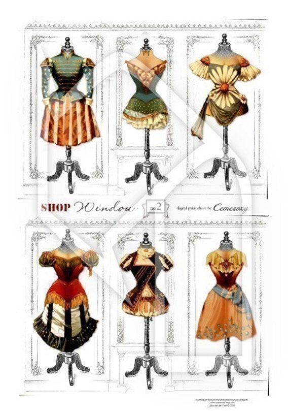 Dress Forms Theatre Costumes Digital Collage Print Sheet no121