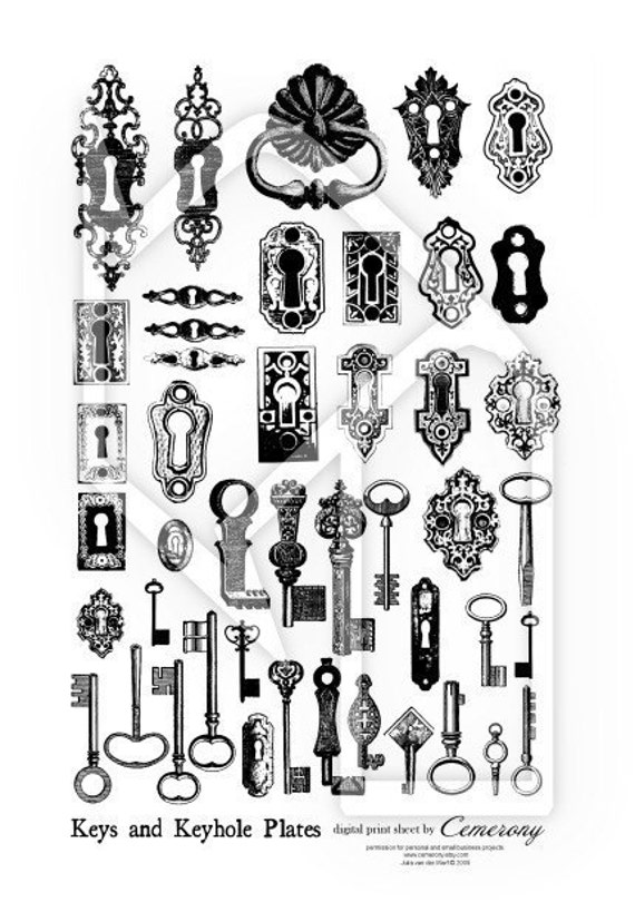 Keys and Keyhole Plates Black White Digital Collage Print