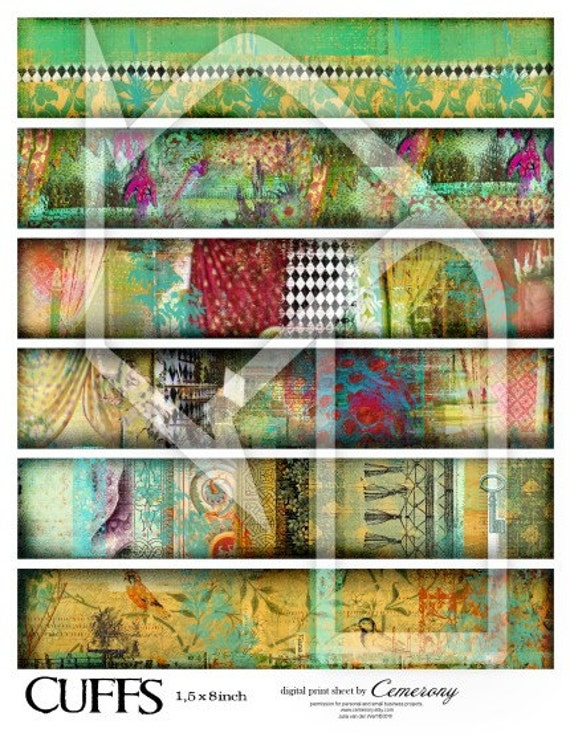 Fills for Cuffs Digital Collage Print Sheet no215