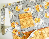 Half Apron - Flea Market Fancy Floral Wrap in grey and orange
